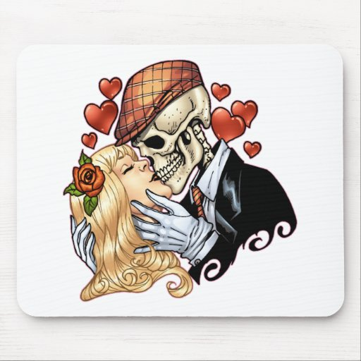 Skull Kiss with Hearts and Roses by Al Rio Mouse Pad