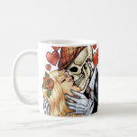 Skull Kiss with Hearts and Roses by Al Rio Mugs