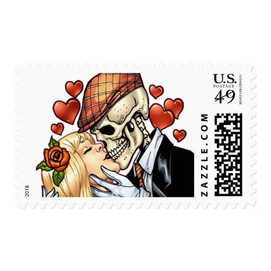 Skull Kiss with Hearts and Roses by Al Rio Postage