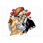 Skull Kiss with Hearts and Roses by Al Rio Post Card