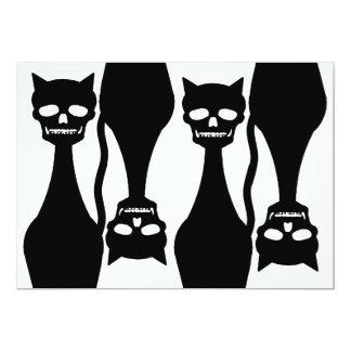 """Skull Kitty Black Wallpaper Invitation 5"""" X 7"""" Invitation Card"""