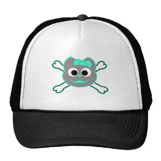 Skull Kitty Green - Gray Trucker Hat