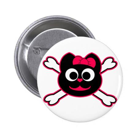 Skull Kitty Pink 2 Inch Round Button