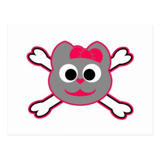 Skull Kitty Pink - Gray Postcard