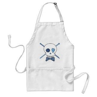 Skull & Knitting Needles (Blue) Adult Apron