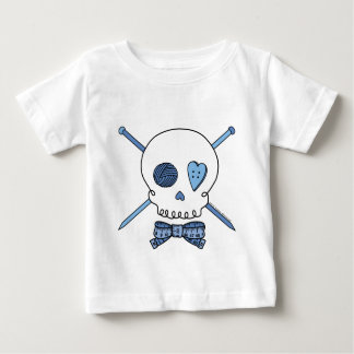 Skull & Knitting Needles (Blue) Baby T-Shirt