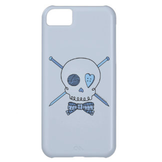 Skull & Knitting Needles (Blue Background) Case For iPhone 5C