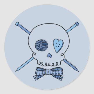Skull & Knitting Needles (Blue Background) Classic Round Sticker