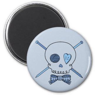 Skull & Knitting Needles (Blue Background) 2 Inch Round Magnet