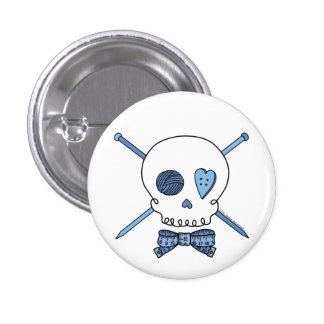 Skull & Knitting Needles (Blue) Buttons