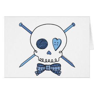 Skull & Knitting Needles (Blue) Card