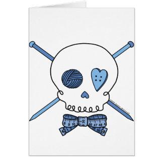 Skull & Knitting Needles (Blue) Greeting Cards