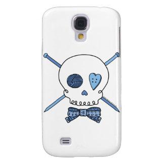 Skull & Knitting Needles (Blue) Galaxy S4 Cases