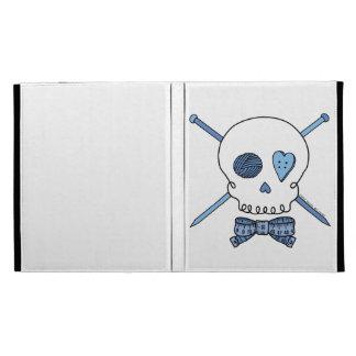 Skull & Knitting Needles (Blue) iPad Folio Covers