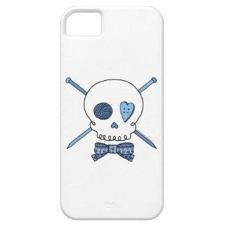 Skull & Knitting Needles (Blue) iPhone 5 Cases