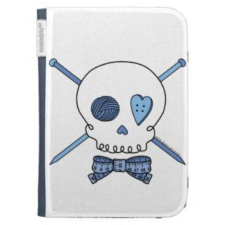 Skull & Knitting Needles (Blue) Kindle Folio Cases