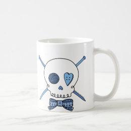 Skull & Knitting Needles (Blue) Coffee Mug