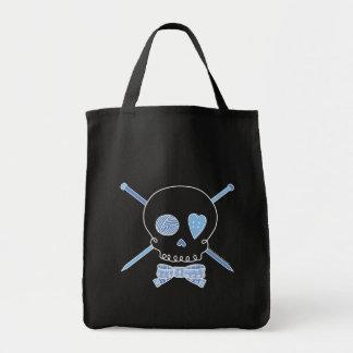 Skull & Knitting Needles (Blue - Dark Version) Bags