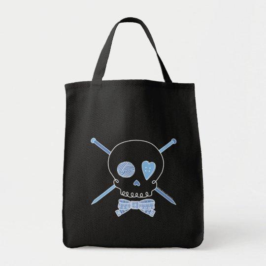 Skull & Knitting Needles (Blue - Dark Version) Tote Bag