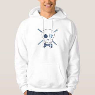 Skull & Knitting Needles (Blue) Hooded Sweatshirt