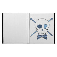 Skull & Knitting Needles (Blue) iPad Folio Covers