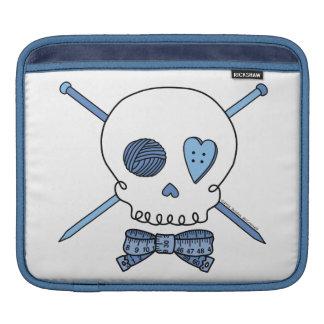 Skull & Knitting Needles (Blue) Sleeves For iPads