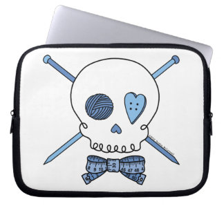 Skull & Knitting Needles (Blue) Laptop Sleeve