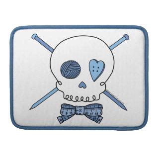 Skull & Knitting Needles (Blue) Sleeves For MacBooks
