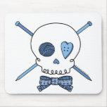Skull & Knitting Needles (Blue) Mouse Pads