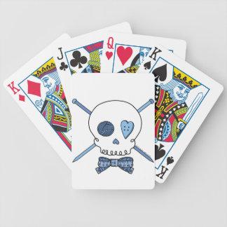 Skull & Knitting Needles (Blue) Bicycle Poker Deck