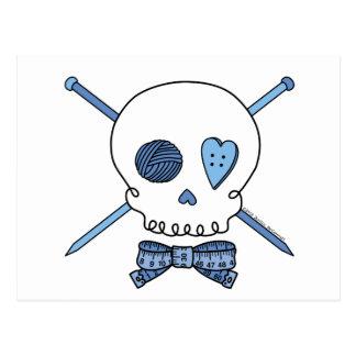 Skull & Knitting Needles (Blue) Postcard