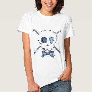 Skull & Knitting Needles (Blue) T-Shirt