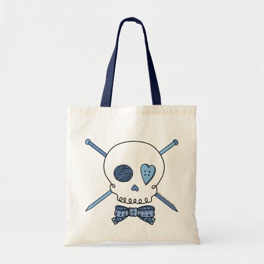Skull & Knitting Needles (Blue) Tote Bag