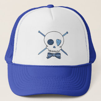 Skull & Knitting Needles (Blue) Trucker Hat