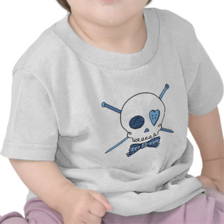 Skull & Knitting Needles (Blue) T-shirts