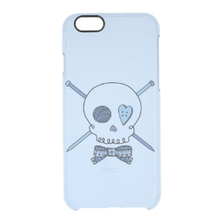 Skull & Knitting Needles (Bow Tie & Blue Back) Uncommon Clearly™ Deflector iPhone 6 Case