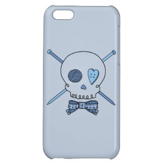 Skull & Knitting Needles Craft Skull (Blue) Cover For iPhone 5C
