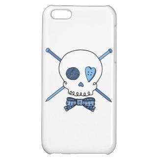 Skull & Knitting Needles Craft Skull (Blue) iPhone 5C Cover