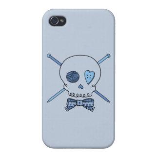 Skull & Knitting Needles Craft Skull (Blue) Case For iPhone 4
