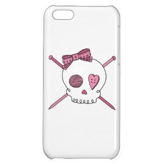 Skull & Knitting Needles Craft Skull (Pink) iPhone 5C Case