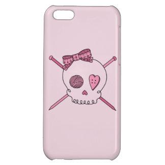 Skull & Knitting Needles Craft Skull (Pink) iPhone 5C Cases