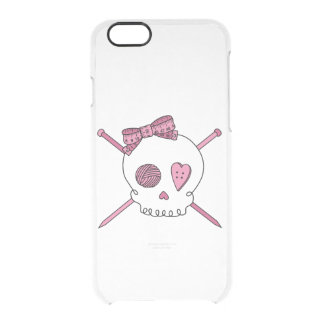 Skull & Knitting Needles (Hair Bow) Uncommon Clearly™ Deflector iPhone 6 Case