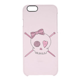 Skull & Knitting Needles (Hair Bow & Pink Back) Uncommon Clearly™ Deflector iPhone 6 Case