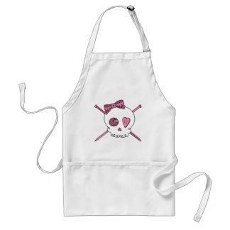 Skull & Knitting Needles (Pink) Adult Apron