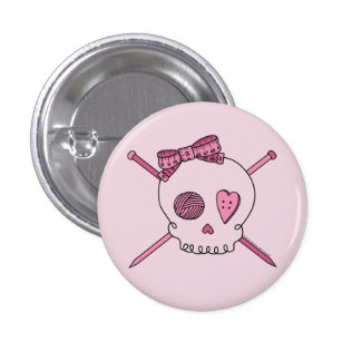 Skull & Knitting Needles (Pink Background) 1 Inch Round Button