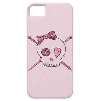 Skull & Knitting Needles (Pink Background) iPhone 5 Cases