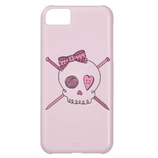 Skull & Knitting Needles (Pink Background) iPhone 5C Cases
