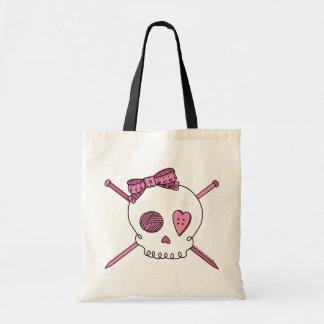 Skull & Knitting Needles (Pink) Budget Tote Bag