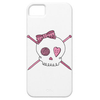 Skull & Knitting Needles (Pink) iPhone 5 Cover