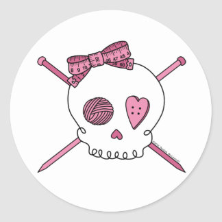 Skull & Knitting Needles (Pink) Classic Round Sticker